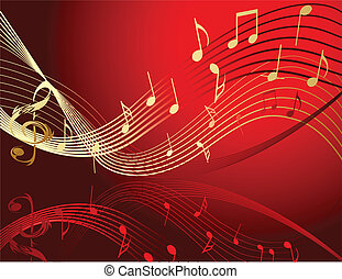 Background with music notes gold and red