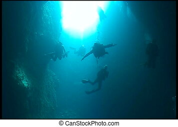 diver cave underwater video - diving underwater video