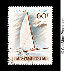 ice sailing - mail stamp printed in Hungary featuring winter...
