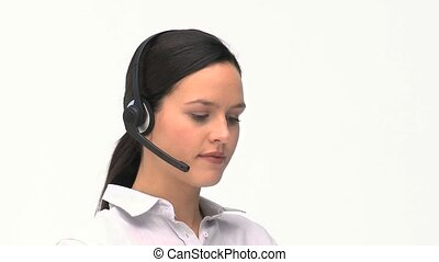Customer service and support woman talking with a headset