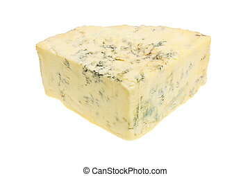 Stilton cheese - Wedge of ripe Stilton blue cheese isolated...