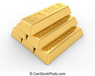 gold ingots - the gold ingots on a white background