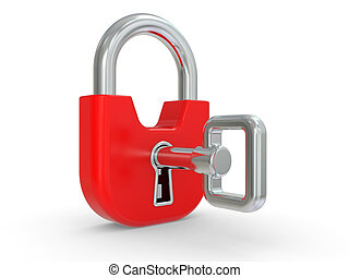 3d red lock with key on a white background