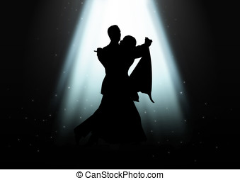 Dancing Under The Light - Silhouette illustration of a...