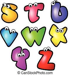 Cartoon Font Type_Letter S to Z - A set of cartoon font...