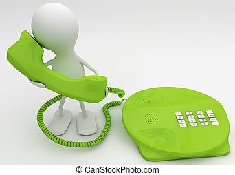 Talking on the phone. 3d render concept in green