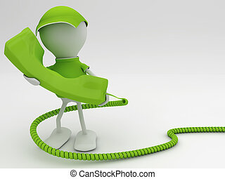Stay connected. Telecom concept 3d render in green. - Stay...
