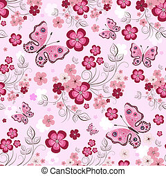 Pink seamless floral pattern with flowers and butterflies...