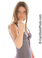 Young woman shakes fist