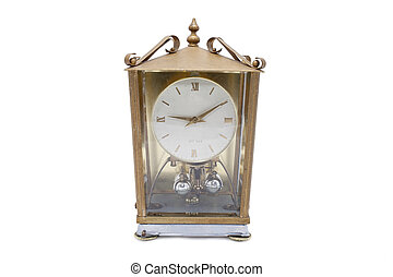 Old Clock - old gold clock isolated on white background