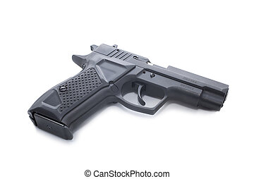 Gun - black hand gun isolated on a white background