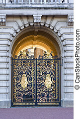 Detail view of front gates to Buckingham Palace in London -...