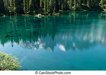 Lake of Carezza - Rosengarten reflection on Lake Carezza in...
