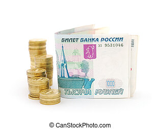 Russian money - Russian rubles banknotes and coins. White...