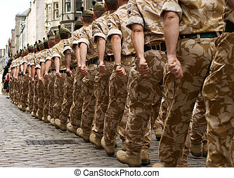 British Army - A column of British soldiers on a homecoming...