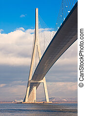 Normandy bridge view (Pont de Normandie, France). Vertical...