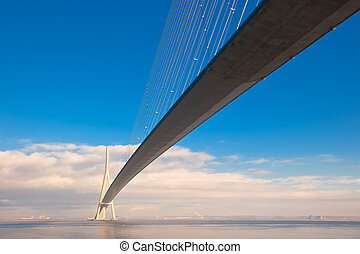 Normandy bridge view (Pont de Normandie, France). Horizontal...