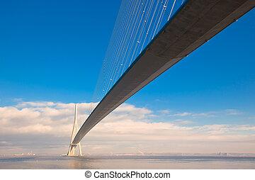 Normandy bridge view (Pont de Normandie, France). Horizontal...