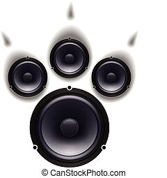 Speakers paw - Speakers animal paw set. Vector illustration...