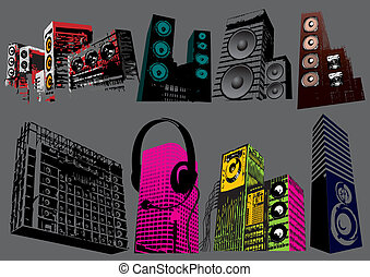 Speakers vector set, image is part of my music collection.