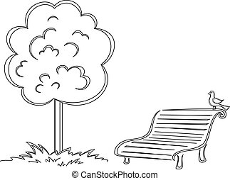 Bird, park bench, tree, contours - Park bench with a small...