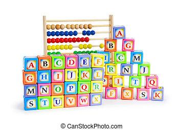 alfabeto, blocos, ábaco, isolado, branca