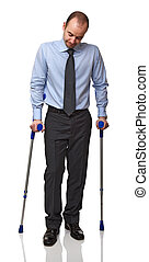 man with crutch - businessman man walking with crutch...