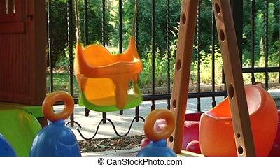 Empty playground - Childrens playground with beautiful and...