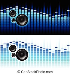 Sound Waves Vector illustration on white and black...