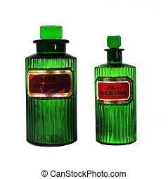 Antique Green Pharmacy Bottles - Two antique green glass...