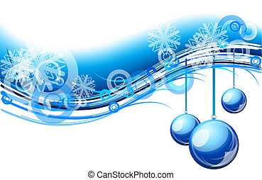 christmas wave - christmas background with blue balls