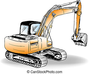 excavator - Sketch of excavator on the white