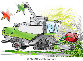 combine - green harvester on the background