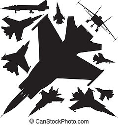 Military Airplanes Silhouettes
