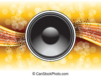 speaker on the gold background
