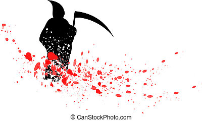 blood reaper - silhouette of reaper isolated on the white
