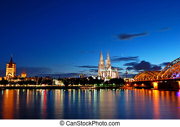 Cologne, Germany - Night view of Cologne, Germany
