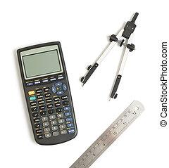 calculadora, círculo, ferramenta
