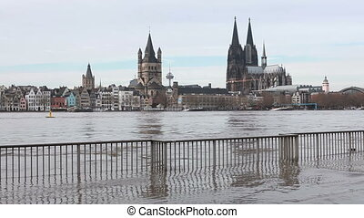 flood water in cologne - flooded promenade in cologne city...