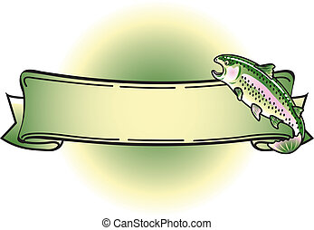 Rainbow Trout Tattoo Banner Clipart - Rainbow Trout with...