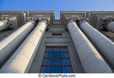 Stalinist architecture. Corinthian capitals and columns....