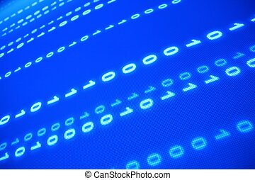 blue data space one zero blured in motion