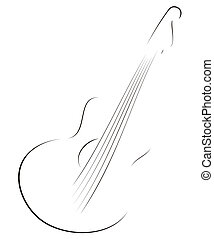 Guitar sketch  - Symbol of guitar in sketch style on white