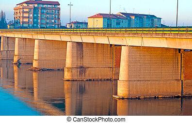 cidade, pequeno, ponte