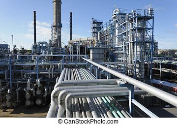 aceite, gas, refinería, panorámico