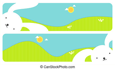 Horizontal Easter banners - Two bright Easter banners with...