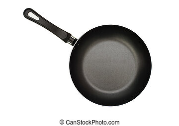 frying pan - The black frying pan is isolated on a white...