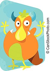 Cartoon monster, cute and funny loo
