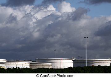Oil tanks - Wide perspective of several oil tanks near a...