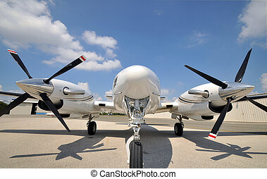 Twin engine airplane - Low angle shot of a twin engine...
